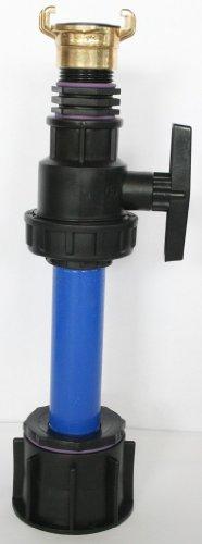 'ame90r _ 9482 + 100 Tube d'écoulement avec tube plastique DN32, 100 mm AG 1 + boule plastique robinet laiton Mamelon double et une fête de raccord adaptateur compatible avec Geka, IBC Réservoir Eau de Pluie de Accessoires de conteneurs Mamelon de Bidon