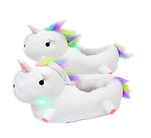 Regenbogen Erwachsene Für Kostüme Helle (Einhorn Hausschuhe NHsunray Fantasy Unicorn Plüsch leuchtend Kuschelig Neuheit Tier Pantoffeln - Einheitsgröße)