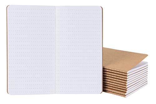 Kraft-Notizbuch - 12er Pack Dot Grid Notebook Tagebuch Tagebuch für Reisende, Tagebuch, Notizen - H5 Größe, weicher Einband, genähtes Notizbuch mit gepunktetem Papier, braun, 10,9 x 21,1 cm (Dekorieren Notebook)