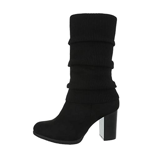 Flache Heel Stiefel (Ital-Design Damenschuhe Stiefel High Heel Stiefel Synthetik Schwarz Gr. 36)