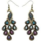 Vintage Pierced Peacock Shaped Earrings Rhinestone Studded Drop Pendant National Dangling Eardrop Jewelry Accessories