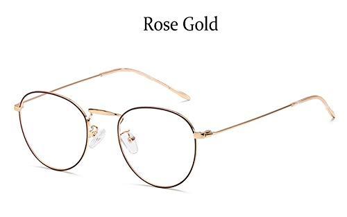 MOJINGYAN Sonnenbrillen Runde Computer Gläser Klar Gegen Blaues Licht Brillengestell Frauen Metall Anti- Reflektierende Linse Fake Brille Brillen, C