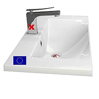 Einbau-Waschbecken 80x35x14,1cm eckig | 80cm Einbau-Waschtisch zum einlassen in eine Platte | Material: hochwertiges Mineralguss | Qualität MADE IN EU