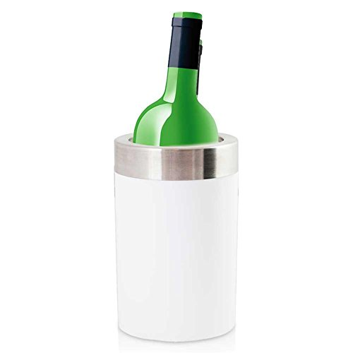 Weinkühler Flaschenkühler Sektkühler Thermoplastik TPR Kühler weiß 12 x 20 cm