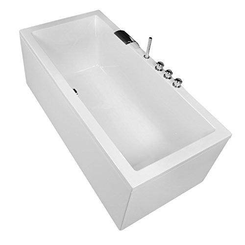 AQUADE Badewanne Komplett-Set inkl. Unterbau Ab-Überlauf und Schürzen-Set 180x80 cm Modell: Neu-Ulm + Armatur mit Wasserfall im Wannenrand