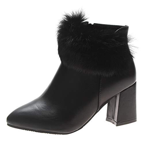 NMERWT Absatzschuhe für Frauen Normallack-Herbst lädt Spitzen Zehe-Reißverschluss-beiläufige Schuhe auf -
