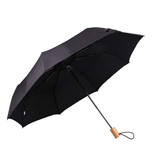 Lanker Kompakter Reise-Regenschirm – Winddicht, verstärkter Überdachung, Teflon-Abwehr Schirme für Damen und Herren KS09P Schwarz