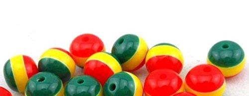 Dojore 100Stück Mini Rund Rasta Perlen. 6mm Durchmesser. Jamaika Reggae Stripe Spacern. Für Kunst, Handwerk, Macrame, Web-& Schmuck Machen