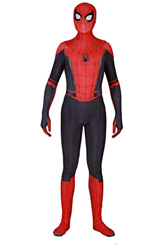 RedJade Peter Parker Spider-Man: Far from Home Uniform Jumpsuit Overall Bodysuit Outfit Cosplay Kostüm Herren (Spiderman Kostüm Bodysuit)
