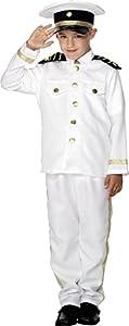 Smiffys-30025M Disfraz de capitán, niño, con Chaqueta, Pantalones y Gorro, Color Blanco, M-Edad 7-9 años (Smiffy