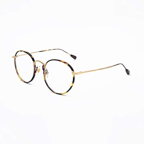 Shiduoli Round Eyewear Frame Brillenlose Brillen ohne Rezept (Color : Leopard Print)