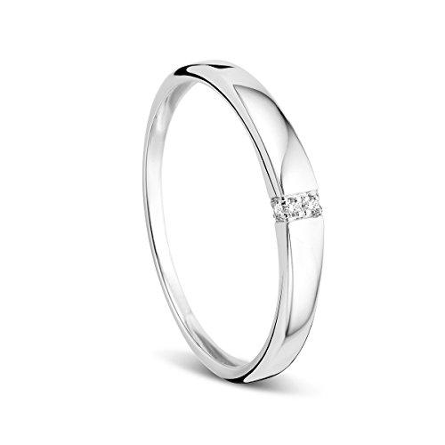 Orovi Damen-Ring Memoire HochzeitsringWeißgold 9 Karat (375) Diamant 0.02 carat Verlobungsring Diamantring