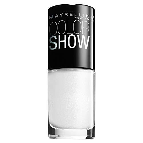 Maybelline ColorShow Nagellack, Nr. 130 Winter Baby, bringt die Laufsteg-Trends aus New York auf die Nägel, in strahlendem weiß, 7 ml