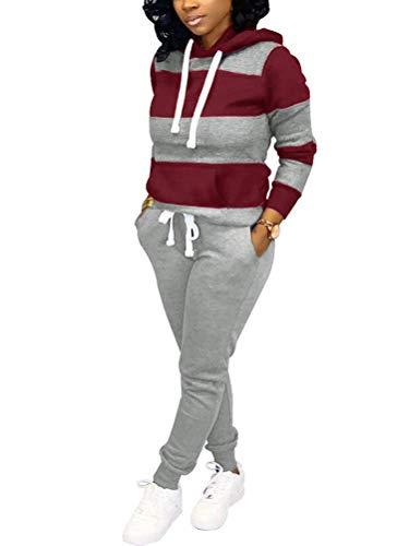 Tomwell Femme Ensemble Sweat-Shirt Pantalon Jogging Survêtement 2pcs imprimé Sportwear 01 Gris 48