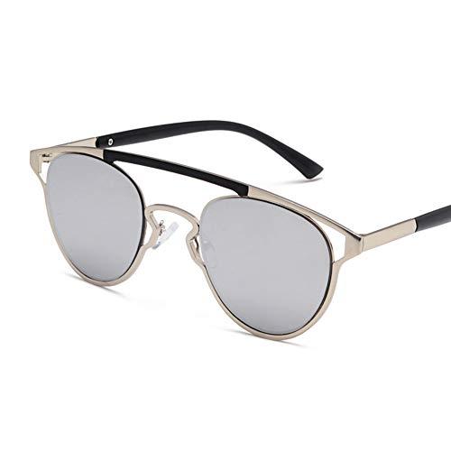 YHgiway Mode-Aviator Sonnenbrille für Männer Frauen konkave Modellierung Frame/Mirrored Lens Cat Eye Brillen UV400,Silver