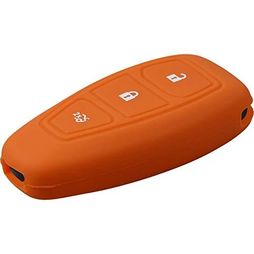 PhoneNatic Silikon Schlüssel Hülle kompatibel mit der Ford Mondeo/Fusion 3-Tasten Fernbedienung in orange Funkschlüssel 3-Key