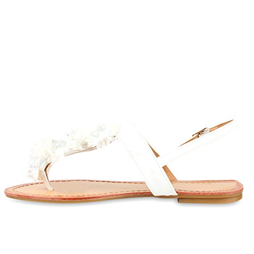 Damen Dianetten | Blumen Sandalen Zehentrenner | Sommer Schuhe Flats | Beach Zierperlen Weiss Blumen