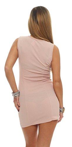 5675 Fashion4Young mini-robe sans manches pour femme g. robe étui élégant 36/38 - Abricot