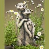 Coppia suricato 'Biker', cemento, 40x 15,5x 13cm