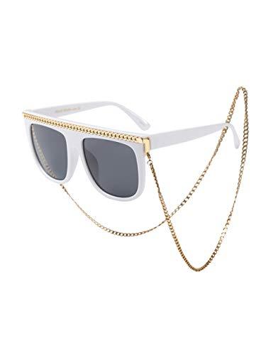 besbomig Sonnenbrille Damen Klassisch UV Brillen - Retro UV400 Schutz Sonnenbrille mit Brillen Kette Eyewear Shades Sunglasses Damenkostüm Herren