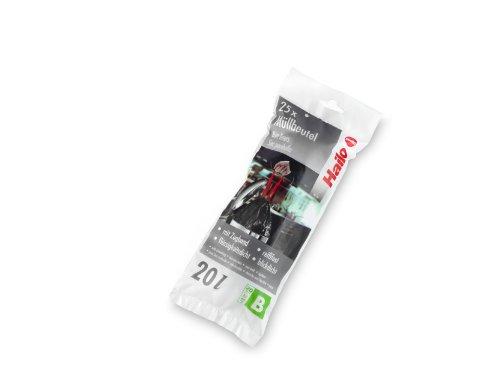 Hailo Müllbeutel B, 20 Liter, 25 Stück, Farbe: schwarz, reißfest - mit Zugband, flüssigkeitsdicht, 0020-001