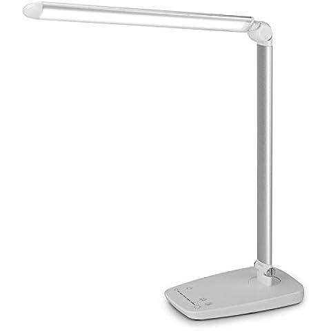 Lampada da Tavolo 108 LED, Yokkao 10W Lampada da Scrivania con Protezione di Occhi, 5 Luminosità e Temperatura di Colore Regolabile
