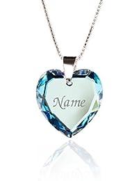 Lieblingsstück, Kinderkette 925 Sterling Silber mit SWAROVSKI ELEMENTS Herz Anhänger Blue AB Herz und individueller Namensgravur