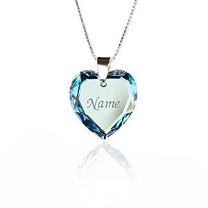 Lieblingsstück, Kinderkette 925 Sterling Silber mit SWAROVSKI ELEMENTS Herz Anhänger verschiedene Farben Herz und individueller Namensgravur