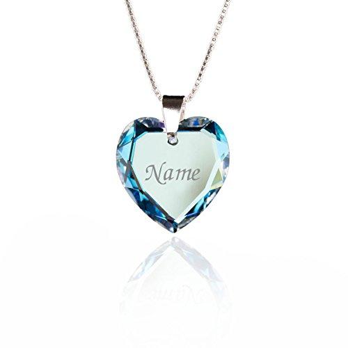 Damen Halskette 925 Sterling Silber mit SWAROVSKI ELEMENTS Herz Anhänger Blue AB Herz und individueller Namensgravur - Halskette Mit Gravur