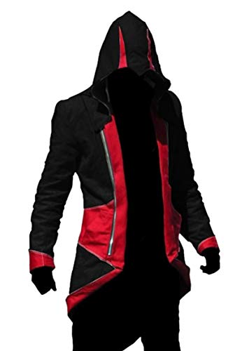 Und Creed Kostüm Rot Schwarz Assassins - Gift4Fever Creed Kostüm Ratonhnhake ton Connor Kenway Mantel, Größe: XXL