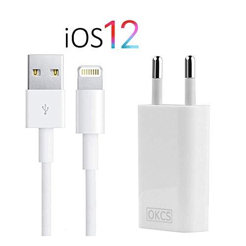 atibel für iPhone - USB 8-Pin Ladekabel 1 Meter + Netzteil für iPhone XR, XS, XS Max, X, 8, 8 Plus, 7, 7 Plus, iPad 4, Pro, Mini, 2 - in der Farbe weiß ()