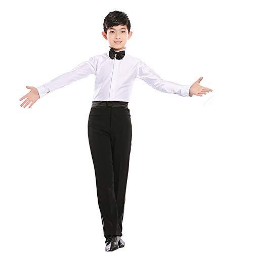 Für Tanz Den Jungen Kostüm Wettbewerb - Kinder Tanz Kostüme Latin Tanz Kostüme Jungen Tanzkleidung Wettbewerb Kleidung Performance Kleidung weiße Revers Anzug Höhe 150 cm