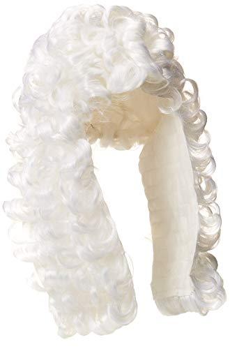 Kostüm Fancy Dress Richter - Rubies weiße Allongeperücke, Erwachsenen-Kostüm-Einheitsgröße