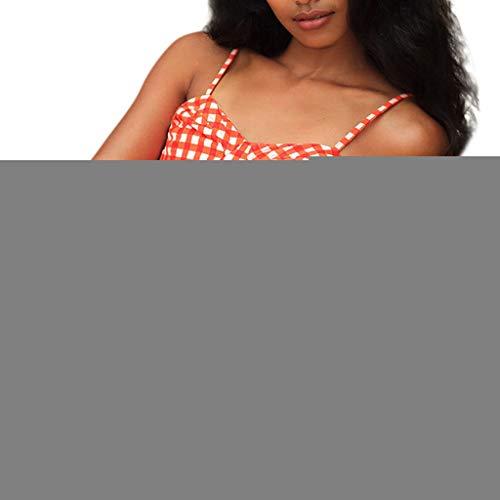 WOZOW Bademode Boho Bustier Gitter Plaid Push Up Zweiteilig Strap Zurück Bikini Set Neckholder Zweifarbig High Waist Tanga Thong Badeanzug (Orange-Plaid)