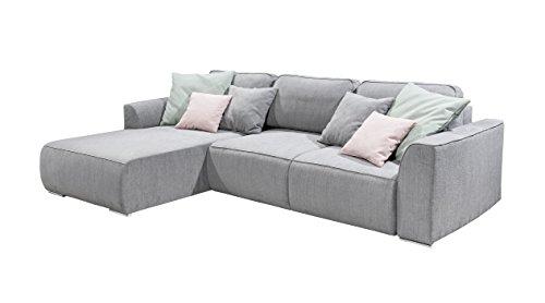 Stella Trading Lazy 2teilige Ecke Ecksofa, Stoff, Grau/Mint/Flamingo, 206 x 294 x 90 cm