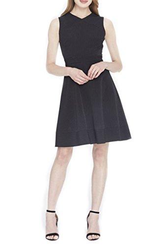 Tahari Fit-and-Flare Pinstripe Dress - Black