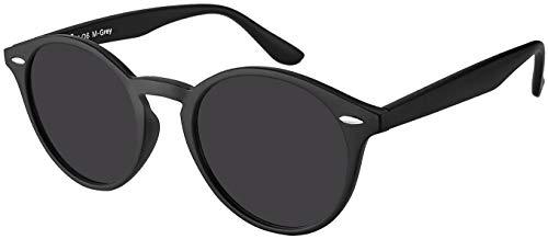 La Optica UV 400 Damen Herren Retro Runde Sonnenbrille Round - Einzelpack Matt Schwarz (Gläser: Grau)