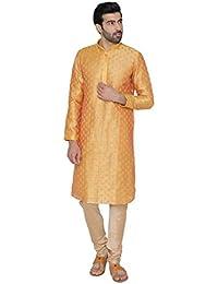 Manyavar Men's Cotton Silk straight Kurta Pyjama