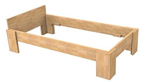 Baßner Holzbau 18mm Echtholzbett Massivholzbett Buche 90x200 Fuß I 44cm Rahmenhöhe