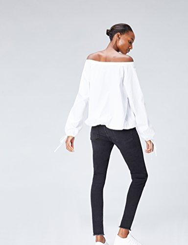 FIND Damen Bluse Oversized mit Schnüren Weiß (White)