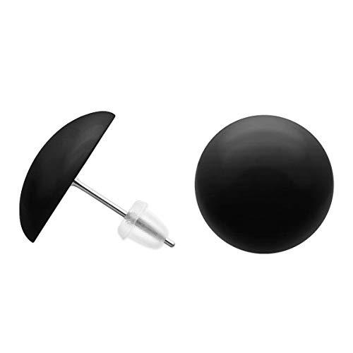 SoulCats® Runde Ohrstecker, Durchmesser ca: 16 mm, Farbe: schwarz