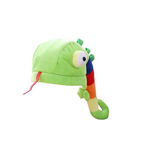 Amosfun Baby Fotografie Hut Plüsch Caterpillar Tier Mütze Kopfmaske Plüschtier Kopfbedeckung für Kinder Erwachsene Karneval Kostüm (Hellgrün) (Kind Caterpillar Kostüm)