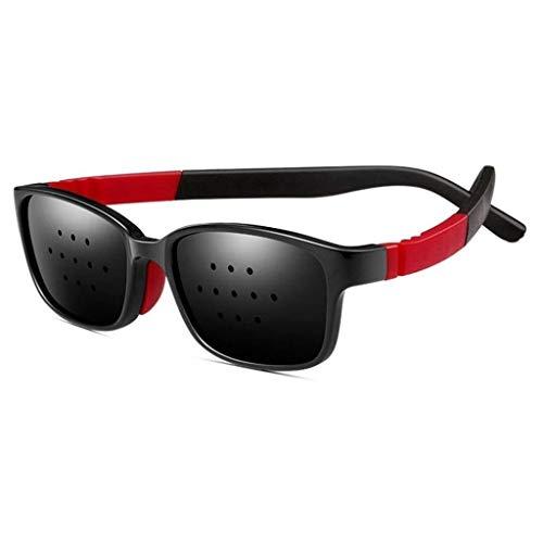 Black Pinhole Microhole 11 Sonnenbrille mit kleinem Loch, Strabismus Correction-Brille mit kleinem Loch, Anti-Ermüdungsbrille mit Mikroloch, Verhindert Myopie Verbessert Astigmatismus