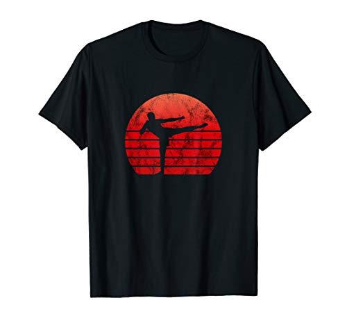 Kickboxing Retro Vintage Shirt Trainer Kickboxen Geschenk (T-shirt-damen-schwarz-boxer)