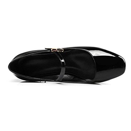 W&LMScarpe singole Testa rotonda Bocca poco profonda Scarpe basse Scarpe posto di lavoro Sala da ballo Black