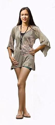 T-shirt Tunique à col en V Motif ornements Bell culture, asymétrique, un moka, Fabriqué au Népal - Marron - 38