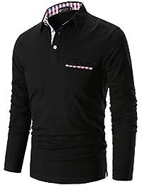 STTLZMC Casual Polo Hombre Mangas Largas Camisetas Deporte Algodón Clásico Plaid Cuello