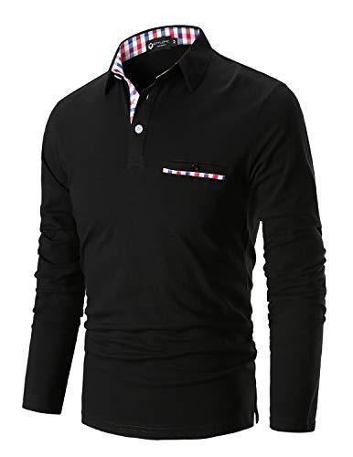 STTLZMC Poloshirt Herren Langarm Basic T-Shirt Freizeit Plaid spleißen Polohemd,Schwarz,M