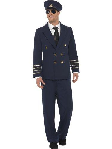 Smiffys Karneval Herren Kostüm Pilot Anzug als Flugzeug Kapitän Größe ()