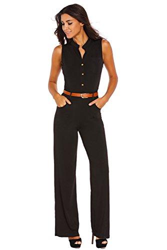 Cfanny Femmes Sexy Col V Sans Manche Palazzo Patte Éléphant Pantalon Combinaison Noir